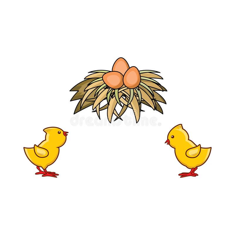 Free Vector Flat Hand Drawn Yellow Chick, Egg In Nest Stock Images - 110833564