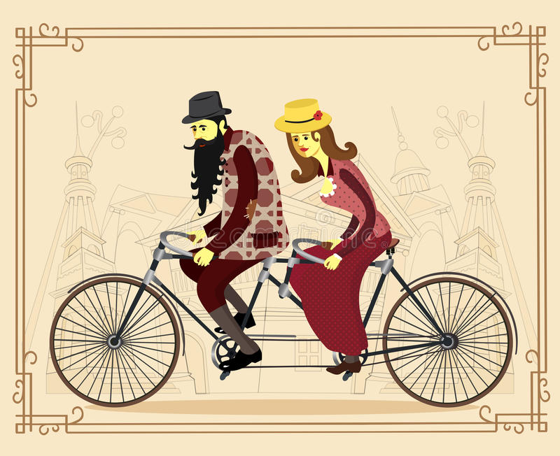Vector flat happy mature man and woman riding old retro tandem b royalty free illustration