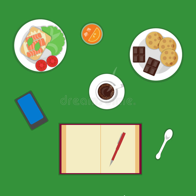 Vector flat healthy breakfast or lunch, top view. royalty free illustration