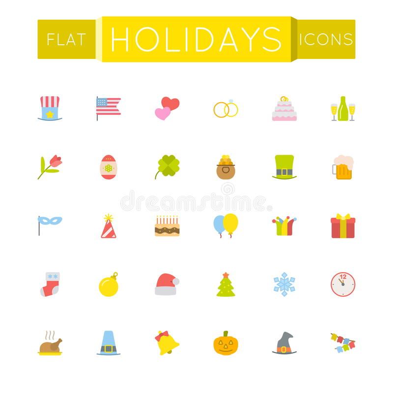Vector Flat Holidays Icons vector illustration