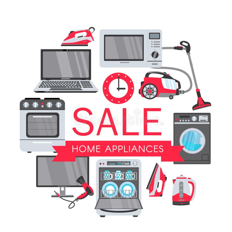 Vector flat home appliance sale icon set royalty free illustration
