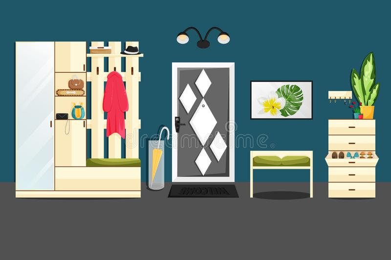 Vector Flat home Interior, Hallway with Furniture stock illustration
