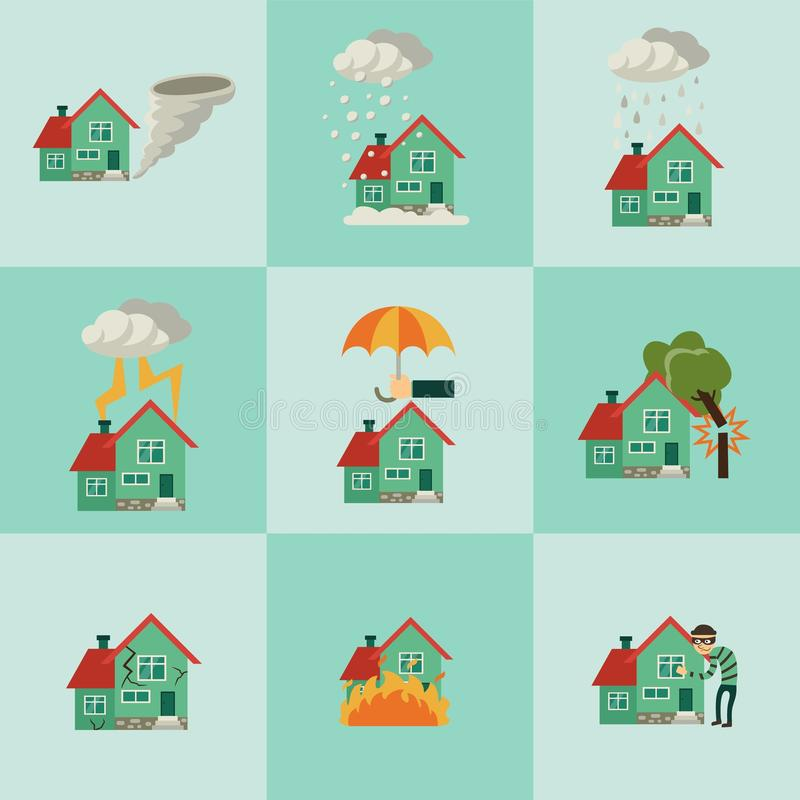 Vector flat house insurance concepts set vector illustration