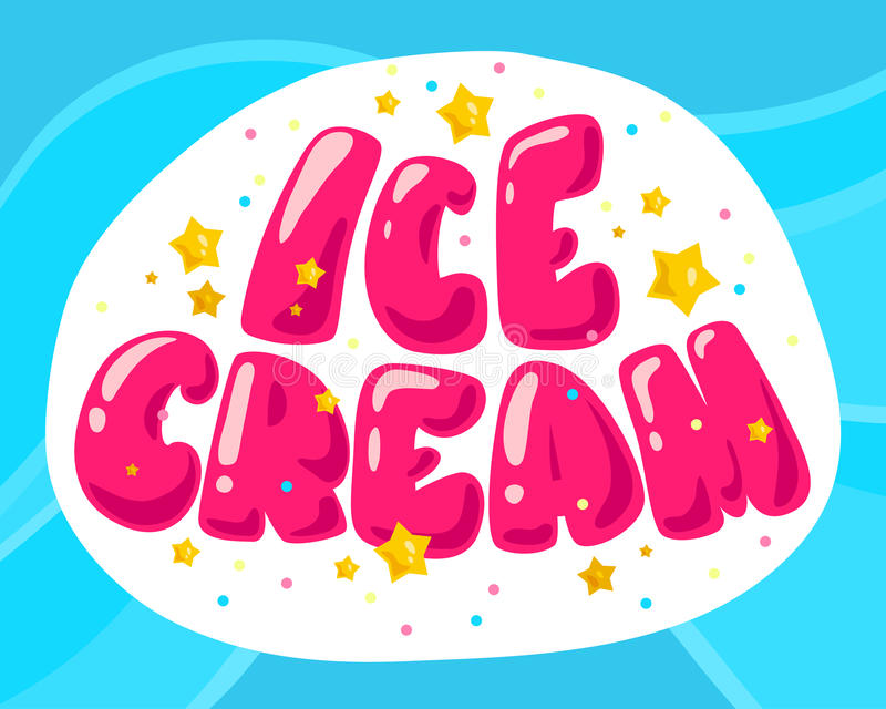 Vector flat ice cream shop, store logo on yellow background. stock illustration