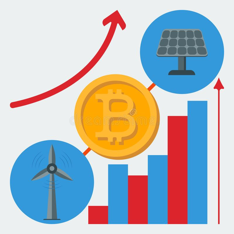 Icon of alternative energy sources for the mine crypto-currency. Vector flat icon of alternative energy sources for the mine crypto-currency stock illustration