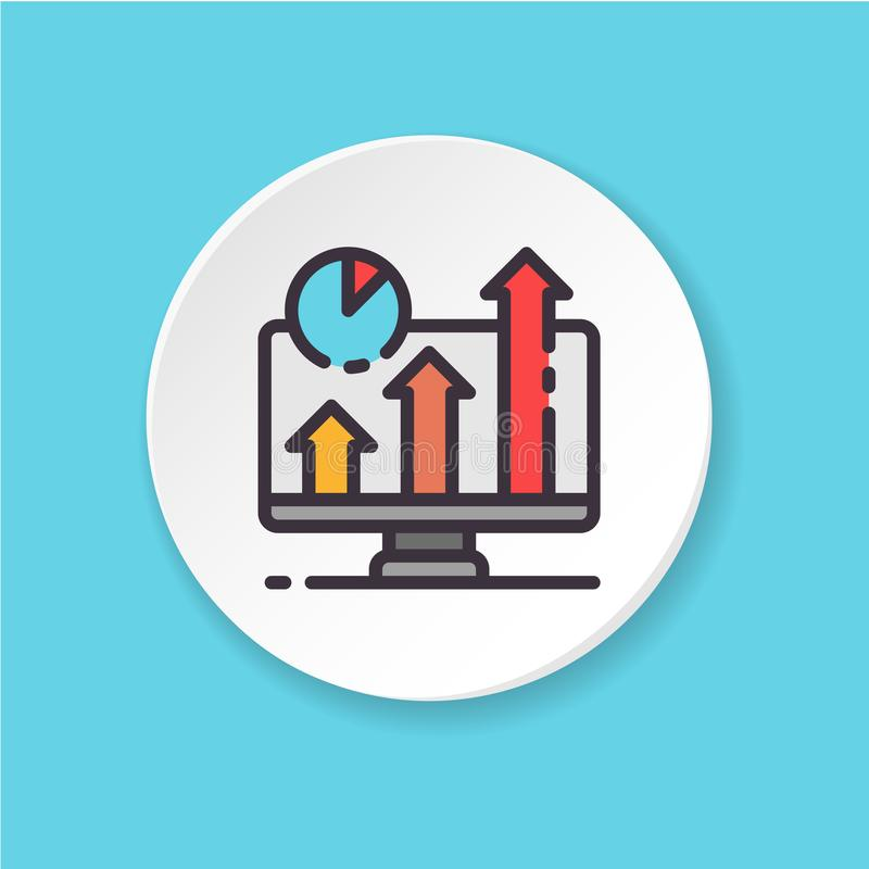 Vector flat icon business screen. Button for web or mobile app. Vector flat icon business screen. Chart and graph on the monitor. Button for web or mobile app stock illustration