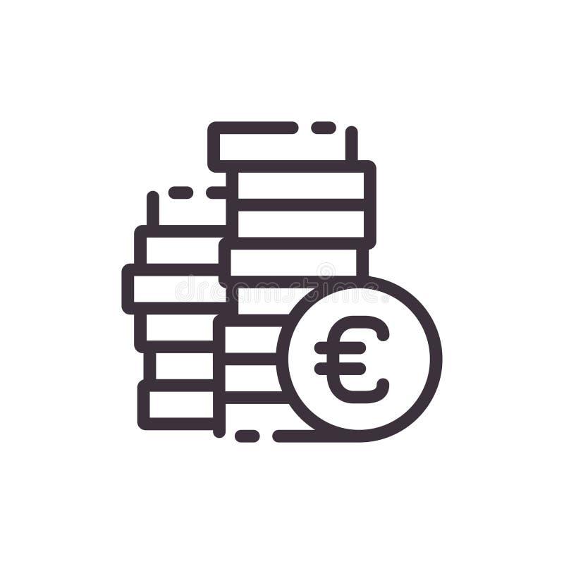 Vector flat icon euro piggy bank. Keeping money concept. royalty free illustration