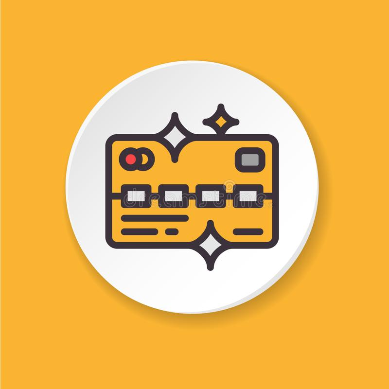 Vector flat icon gold VIP card. Mobile payment. UI/UX user interface. stock illustration