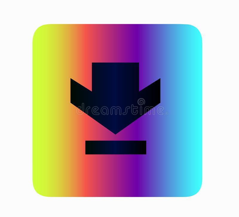 Vector flat neon icon - download. Layout buttons for web site, social media. Vector flat icon loading button isolated. Layout for web site or social media royalty free illustration