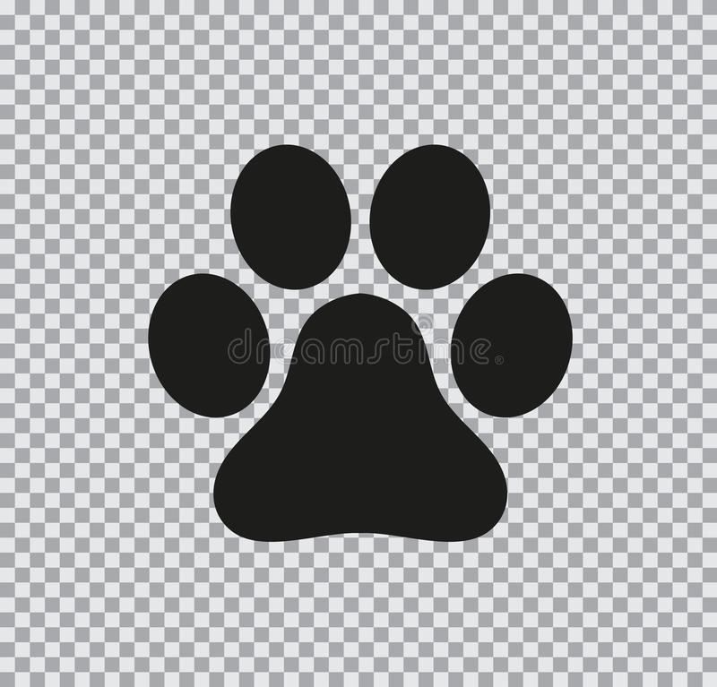 Vector flat icon of paw on transparent background. Vector flat icon of paw black on a transparent background stock illustration