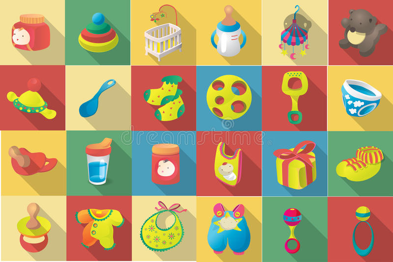Vector flat icon set of baby goodies stock illustration