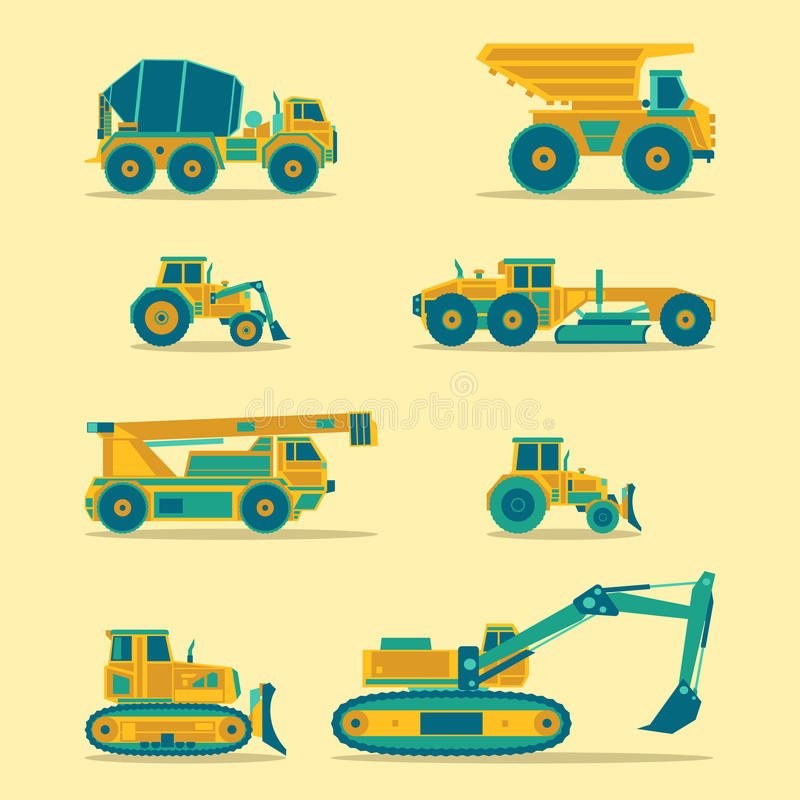 Vector flat icons set of construction vehicles. Road engineering signs. Industrial machinery symbols. Vector flat icons set of construction vehicles. Road royalty free illustration