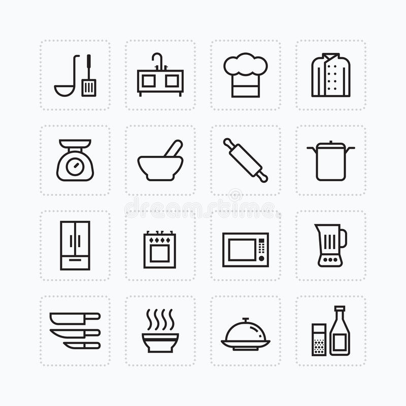 Vector flat icons set of kitchen cooking tools outline concept. Vector flat icons set of kitchen cooking tools outline concept stock illustration