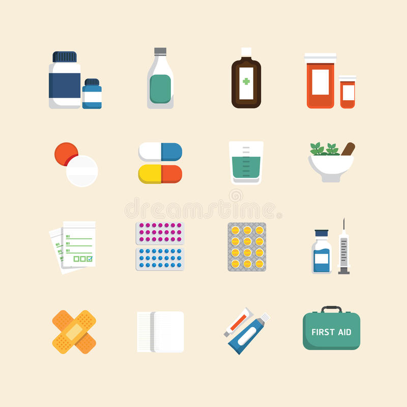 Vector flat icons set of medical & health care design concept. stock illustration