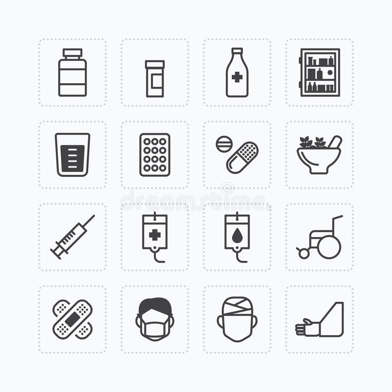 Vector flat icons set of medical & health care outline concept. stock illustration