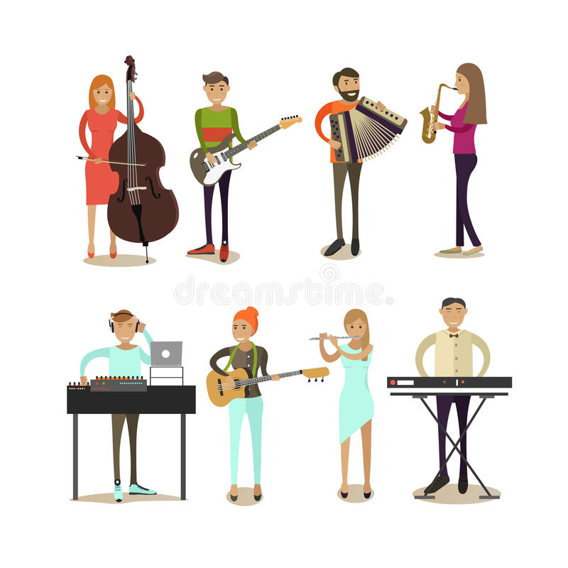 Vector flat icons set of musician characters. Vector icons set of musician people isolated on white background. Guitarist, bassist, saxophonist, disc jockey royalty free illustration
