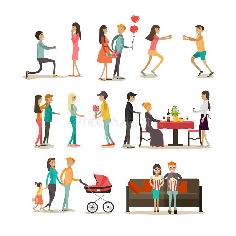 Vector flat icons set of people in love royalty free illustration