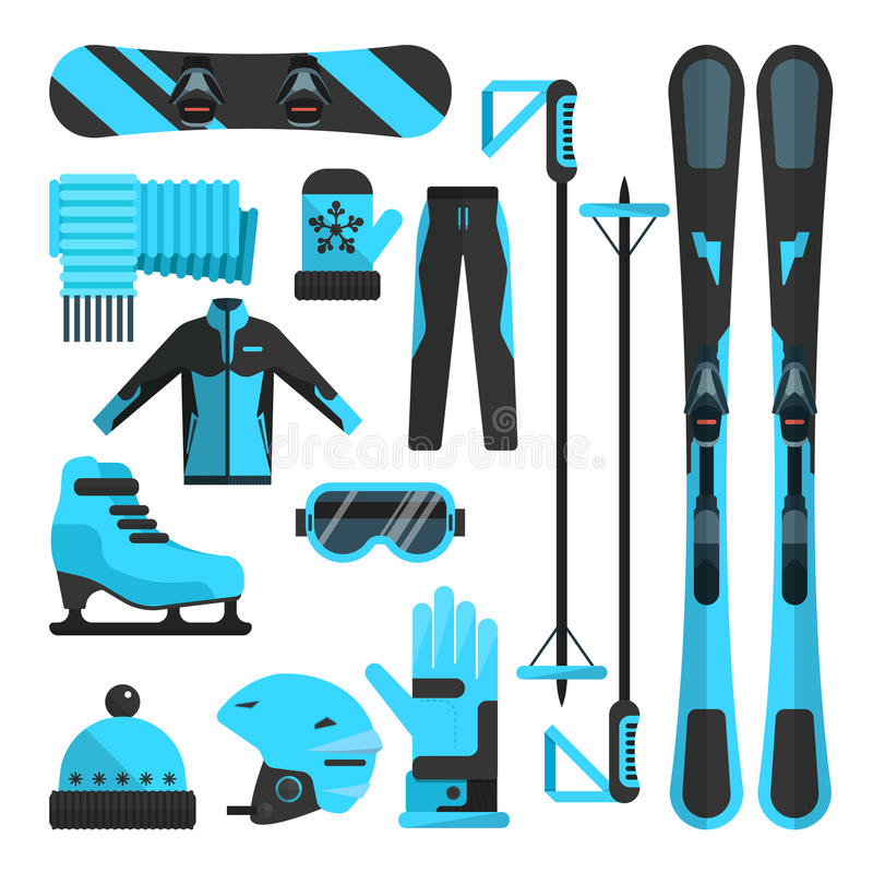 Vector flat icons set of skiing, skating and snowboarding outfit royalty free illustration