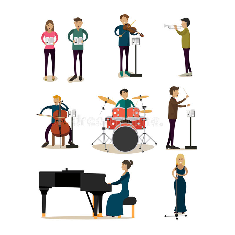 Vector flat icons set of symphony orchestra people vector illustration