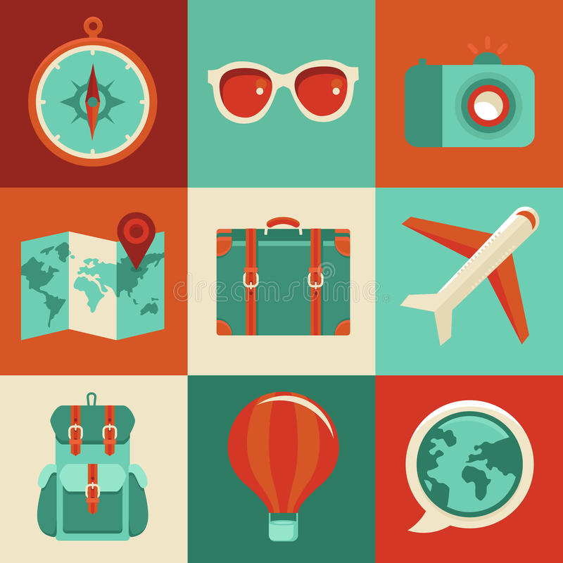 Download Vector Flat Icons - Travel And Vacation Stock Vector - Illustration: 37232518