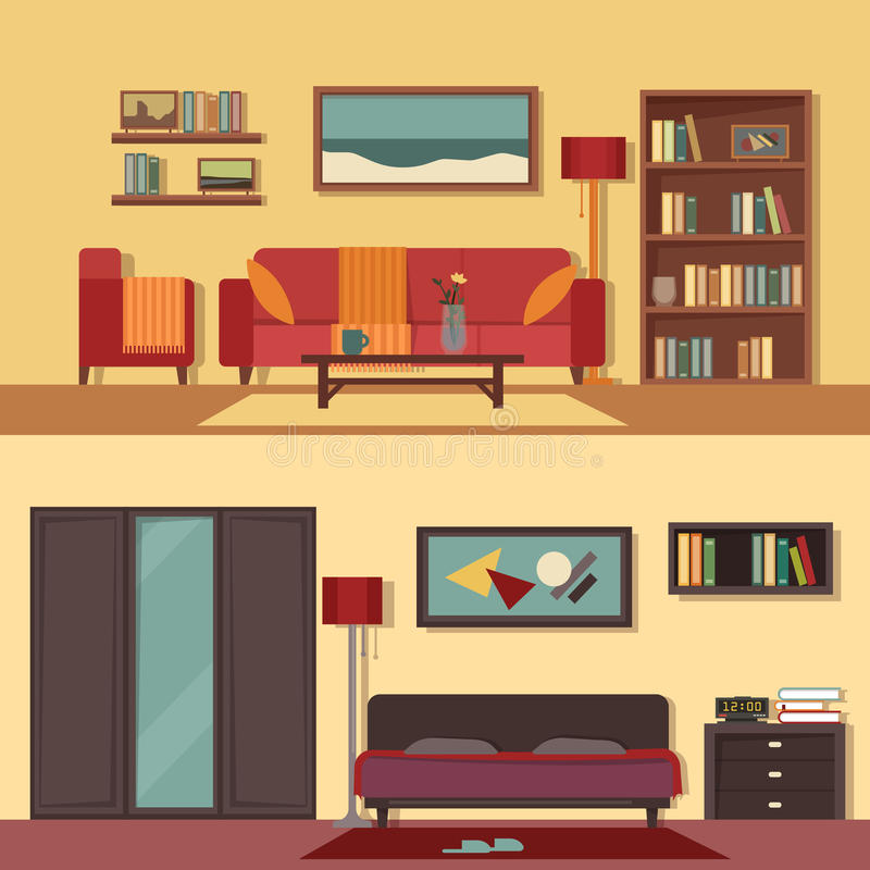Interior Of Modern Living Room In Flat Design Stock Vector: Vector Flat Illustration Banners Set Abstract For Rooms Of
