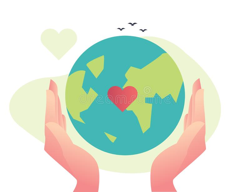Big realistic hand go green, cycle, saving the planet, World Environment Day, Bio technology. Vector flat illustration, big hand holding earth go green, love royalty free illustration