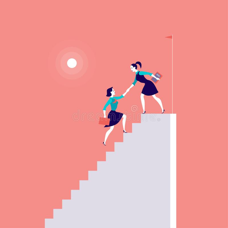 Vector flat illustration with business ladies climbing on top of white stairs together on red background. royalty free illustration