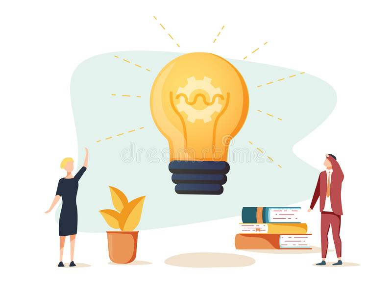 Vector flat illustration, business meeting and brainstorming, business concept for teamwork, searching royalty free illustration