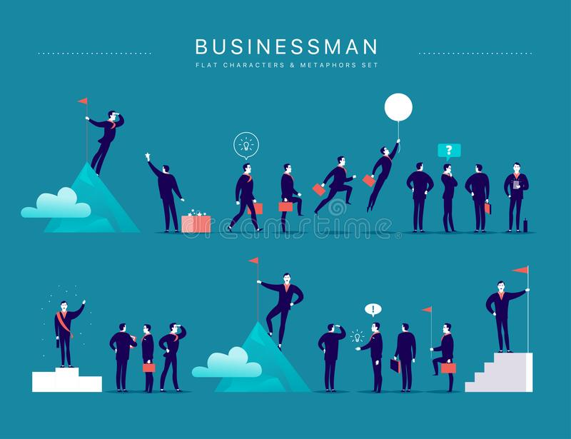 Vector flat illustration with businessman office characters & metaphors isolated on blue background. vector illustration