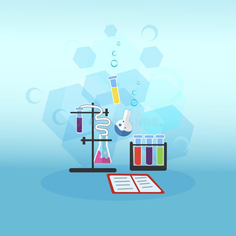 Chemistry Lesson Test Tubes Vector Illustration. royalty free illustration