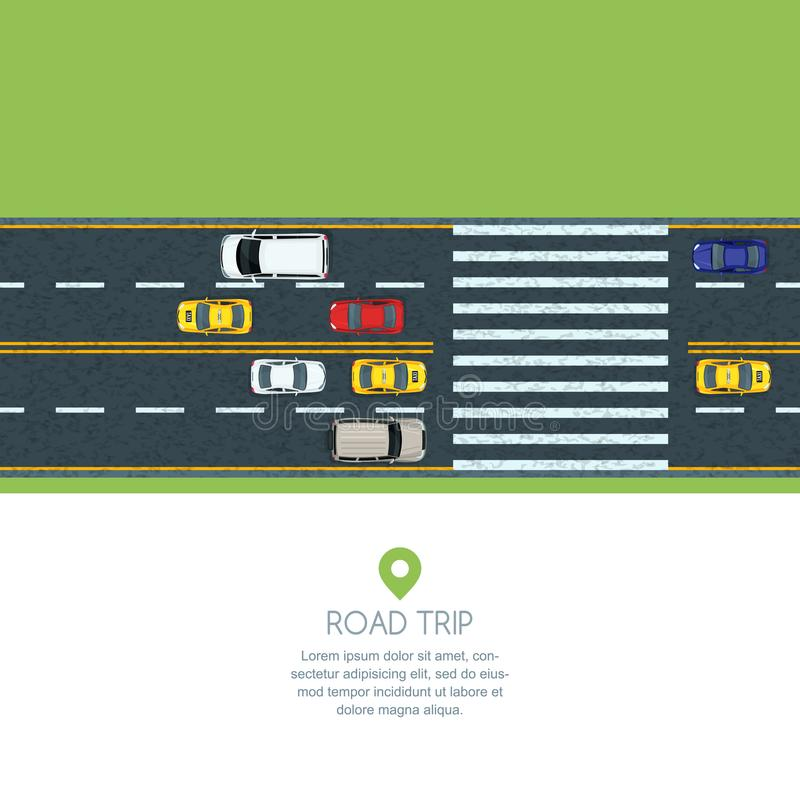 Vector flat illustration of city transport. Highway road, moving cars and taxi. Automobiles on the crosswalk, top view. stock illustration