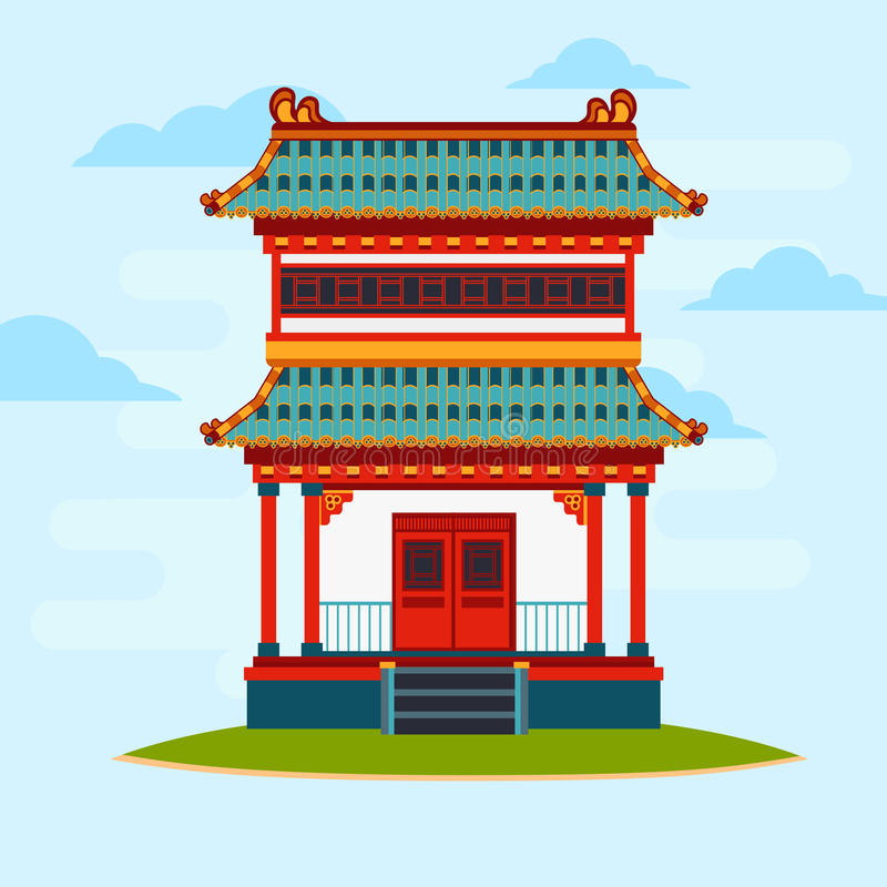 Vector flat illustration. Colorful oriental building. Asian architecture. stock illustration