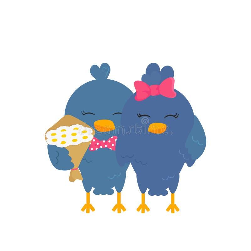 Vector Flat Illustration of Couple of Love Birds royalty free illustration