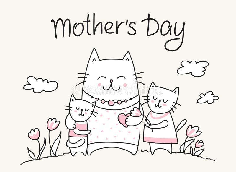 Happy Mothers Day card with cat mom and little kitties. Flat vector Mother`s Day animal illustration royalty free stock photo