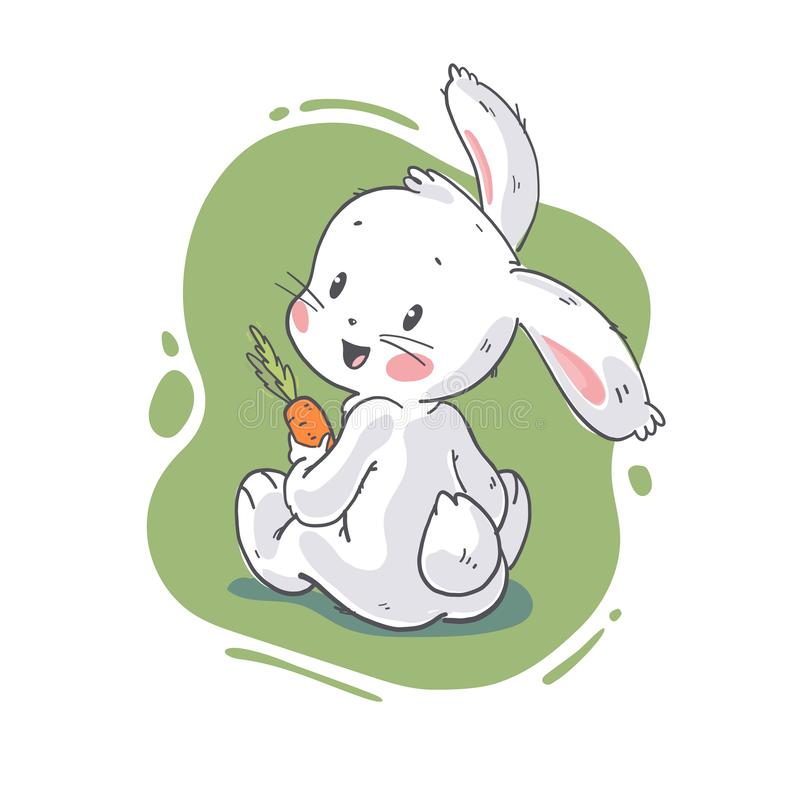 Vector flat illustration of cute little white baby bunny character with autumn leaves bouquet sitting. royalty free illustration
