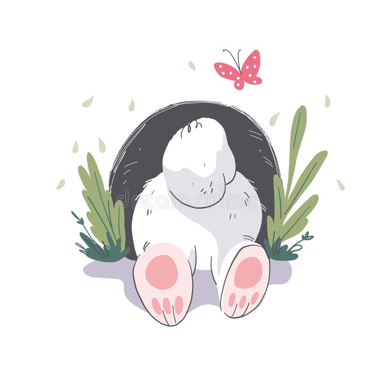 Vector flat illustration of cute little white baby bunny character hiding in the hole. Hand drawn style. For baby calendar, baby shower, birthday card, tee vector illustration