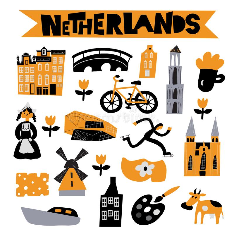 Vector flat illustration of different Netherlands attractions, landmarks and symbols.  vector illustration