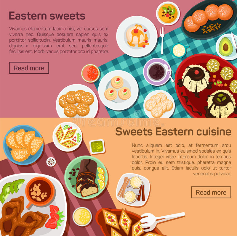 Vector flat illustration of eastern sweets dishes. Outside tasty snacks. With cup of hot tea, candies, cookies, strawberry, kiwi on the plate, eps 10 stock illustration