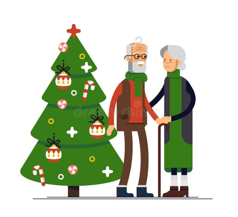 Vector flat illustration of elderly couple celebrating Christmas. Family standing together. Holding each other stock illustration