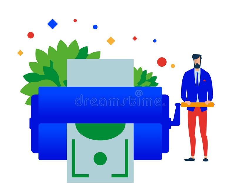 Money maker. Man prints money. royalty free illustration