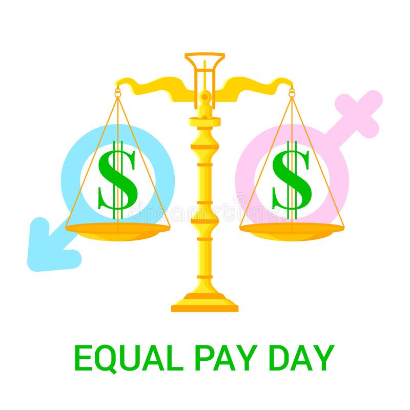 Vector flat illustration for Equal Pay Day. Vector flat illustration for Equal Pay Day with scales, dollar icons and male and female signs isolated on white stock illustration