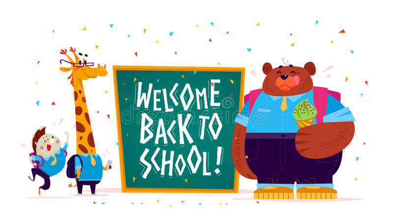 Vector flat illustration with funny cartoon animal student hedgehog, giraffe, bear boy standing. At big chalkboard on white background. Lettering back to school stock illustration