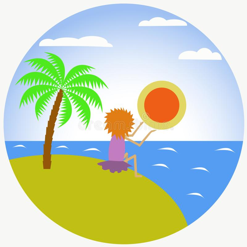 Vector flat illustration of a girl on an island and sunset stock photos