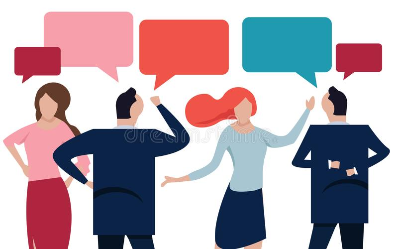 Vector flat illustration, a group of people communicates through the Internet social networks, the concept of. Communication, discussing business, news vector illustration