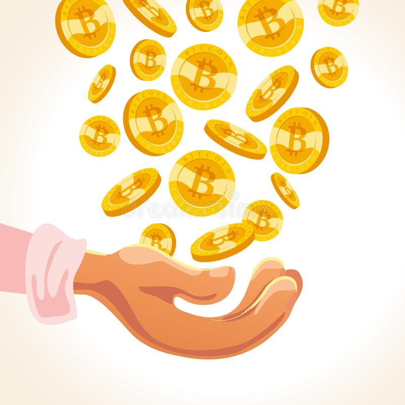 Vector flat illustration of human hand holding many falling bitcoins falling down isolated on white back ground. royalty free illustration