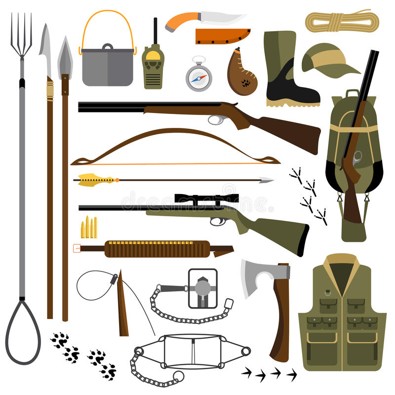 Vector flat illustration of hunting gear and weapons stock illustration