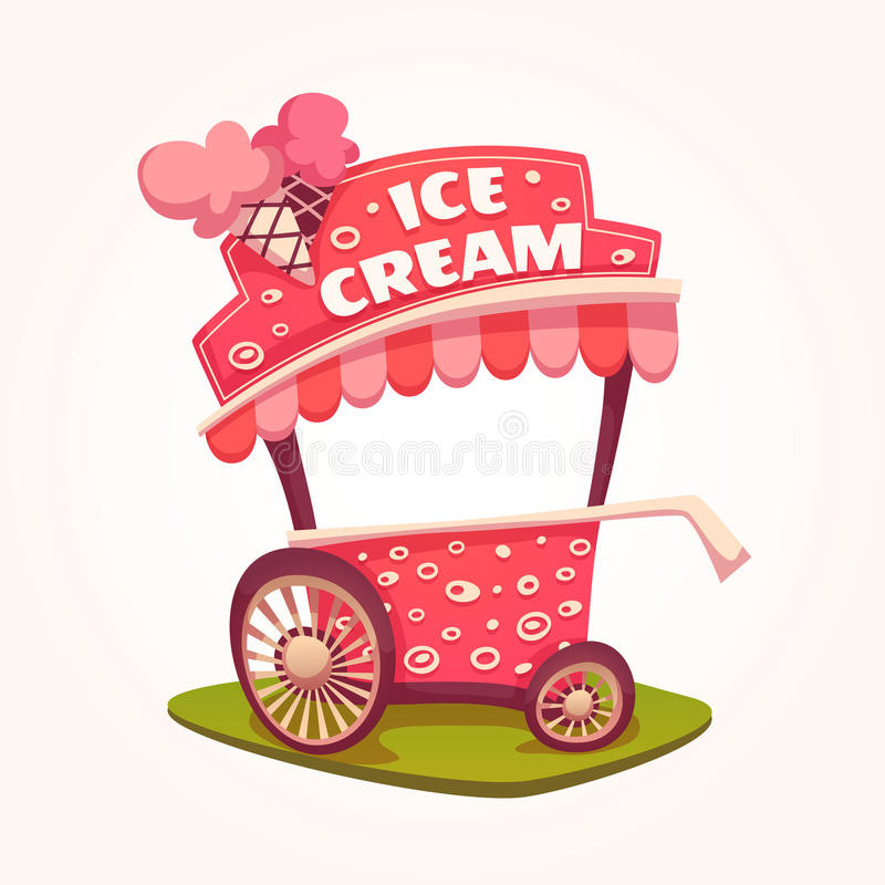 Vector flat illustration of Ice Cream cart stock illustration