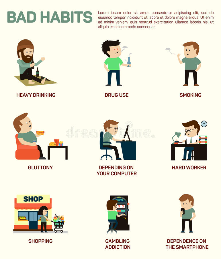 Vector flat illustration infographic of popular bad habits. Alcohol drinking, drug usage, smoking, gluttony with obesity stock illustration