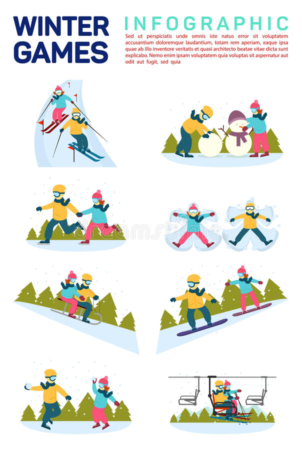 Vector flat illustration infographic of winter snow sport games. Skiing, making snowman, skating, angels on snow stock illustration