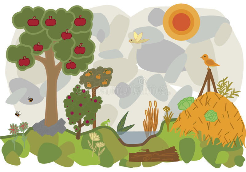Vector flat illustration of a land of permaculture stock photo